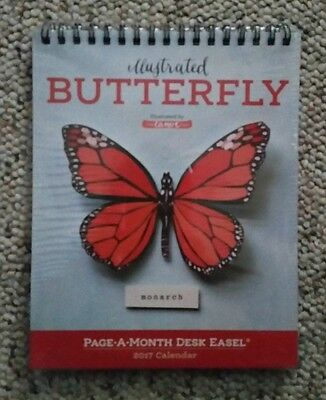 Illustrated Butterfly Page a Month Desk Easel 2017 Calender NEW!!!