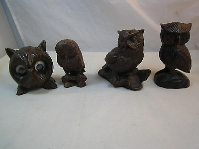 """Lot Of 4 Wooden Wood Owl Owls Statues Figurines 4"""" - 5"""" Tall"""