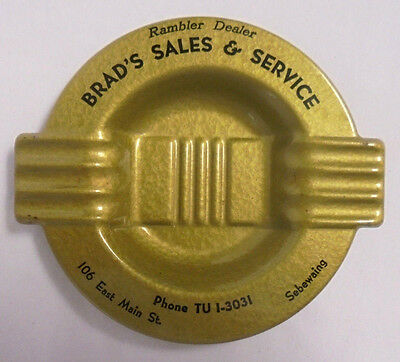 Vintage Rambler Dealer Olive Green Metal Ashtray Sebewaing Michigan Brad's Sales