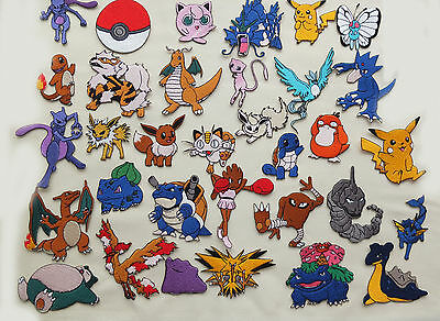 EMBROIDERED Pokemon Go Iron On / Sew On Patch Cards Picachu Mew Buy 4 get 1 free
