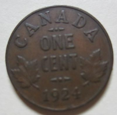 1924 Canada Small Cent Coin. VG/F KEY DATE