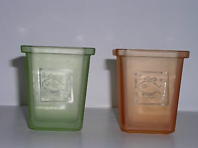 Beachy Fish Design Frosted Glass Votive Candle Holder Set of 2 Green Orange GUC