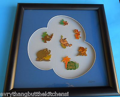 Disney George Of The Jungle Matted Framed 7 Pin Set Authenticity Papers Pp 10885