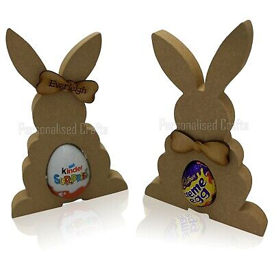 Free Standing Easter Bunny Rabbit Creme/Kinder Egg Holder MDF Blank Shape
