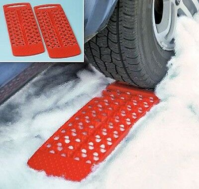 Wheel Tire Treads Set Car Auto Snow Rain Mud Grip Stuck Traction Driving Red