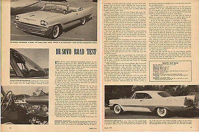 1956 classic Car '57 De Soto Firedome ROAD TEST Article Motor Life Mag.  091115