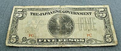 WORLD WAR II The Japanese Government Occupation Money Five Pesos