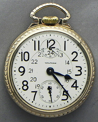 A GRAND 16s, 23 Jewel, Waltham Railroad Grade Pocket Watch With A 24-Hour Dial!!