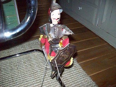 """Vintage Tin Metal Armor Fabric And Wood Conquistador Soldier Puppet 13"""""""