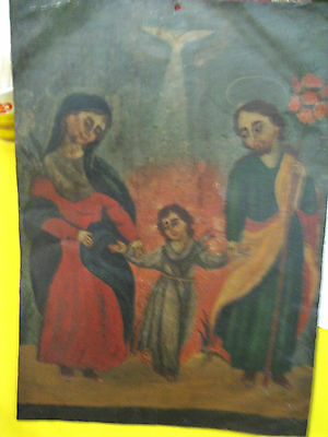 Original Antique Retablo On Tin With The Image Of The Holy Family 10'' By 14''