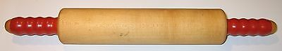 Vintage Wooden Rolling Pin with Red Wooden Handles
