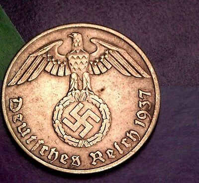 NAZI copper penny ww2 .The real coin,no fakes!!'''//.l