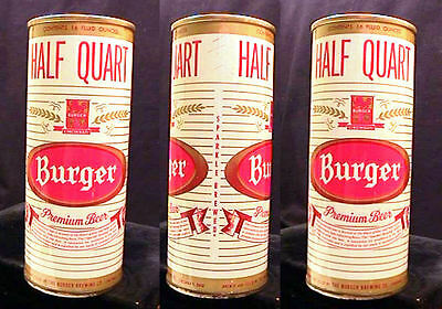 Burger Premium Beer Mid 1960's 16Oz Half Quart Early Style Pull Tab Can Awesome