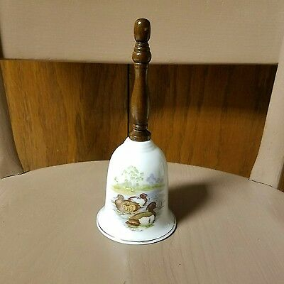 Porcelain Fine Bone China Painted Bell Tufted Ducks Wood Handle