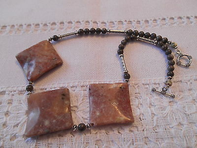 """18 1/2"""" Lepidolite and Gray Stone necklace"""