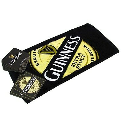 Official Guinness Bar Towel and 10 Beer Mats Set New