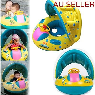 Inflatable Baby Child Kids Sunshade Boat Swimming Pool Seat Float Aid Ring Tube