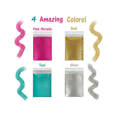 "6"" x 10"" Hot Pink,Teal, Gold, Silver Metallic Bubble Mailer Padded Envelope Bags"