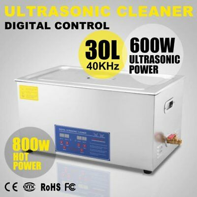 New 30L Ultrasonic Cleaner Stainless Steel Industry Heated Heater w/Timer USA MR