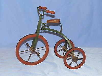 Doll or teddy bear decorative tricycle display, antique reproduction toy