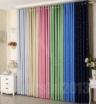 Colorful Star Textured Blackout Room Darkening Blockout Eyelet Curtains Decorate