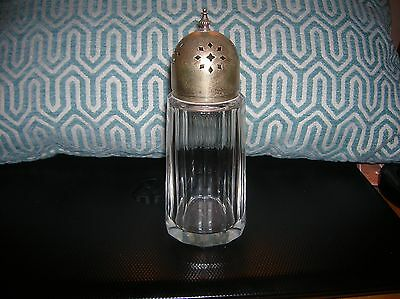 Antique Crystal Glass Muffineer/Shaker with Silverplate Top