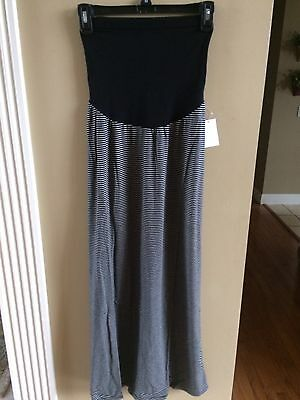 Oh Baby by Motherhood Secret Fit Belly Striped Maxi Skirt Size Medium NWT