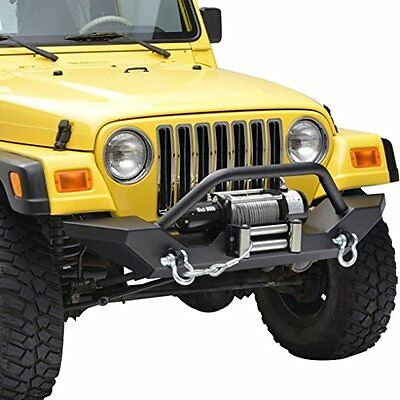 87-06 Jeep Wrangler TJ YJ Off Road Front Bumper 2x D ring Winch Plate 51-0034