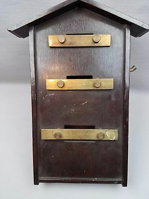 "Oriental VTG Wall Mount House Shape Door Chime Bell Gong Brass Wood 15"" Free Shi"