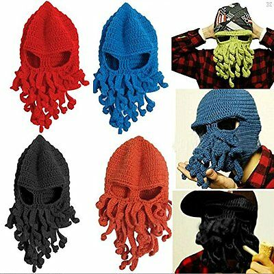 Unisex Octopus Knitted Ski Beanie Face Mask Knit Hat Squid Cap Beanie Tentacle