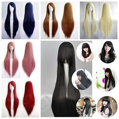 80cm / 100cm Full Hair Wig Long Straight Cosplay Party Costume Anime Wig NEW