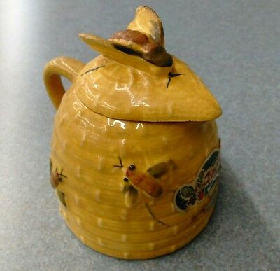 Vintage Tropic Bee Ceramic Honey Jug Pitcher and Bee Cover Lid