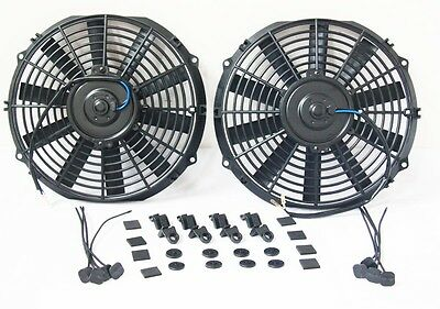 """2 x 7"""" 7Inch 12 Volt Electric Cooling Fan Push Pull For Radiator Intercooler KIT"""