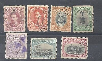 Csta Rica 1889-1901 7 stamps used