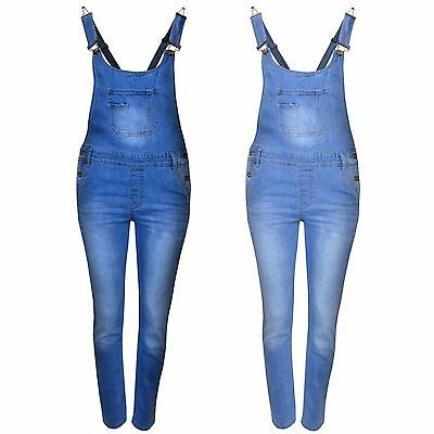 Kids Girls Denim Jeans Dungaree Full Length Celeb Pinafore Overall Jumpsuit 7-13