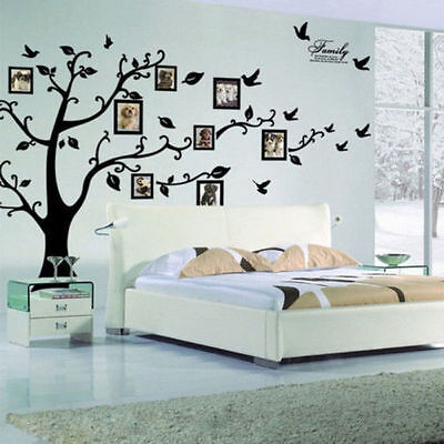 Large Photo Picture Frame Family Tree Removable Wall Sticker Decor Decal Black K