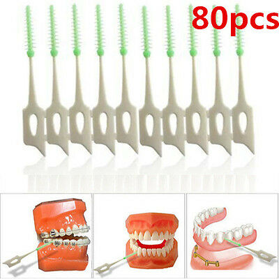 """80Pcs 2"""" Soft Clean Between Interdental Floss Brushes Dental Oral Care Tool"""