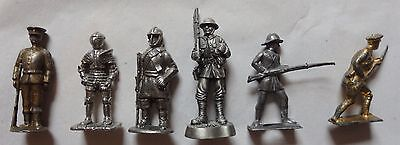 6 VARIOUS SMALL METAL TOY SOLDIERS 5.5cm UNPAINTED (O/S)