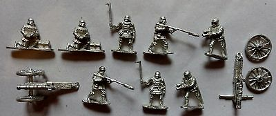 VARIOUS SMALL METAL TOY SOLDIERS WITH CANNONS 2cm UNPAINTED (O/S)