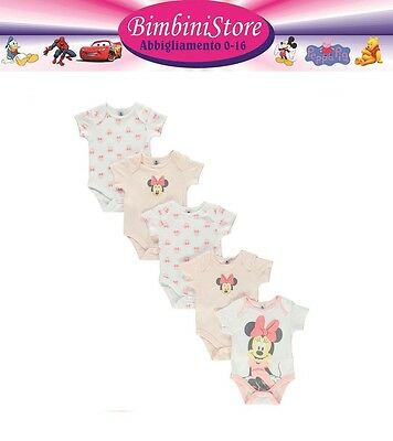 Set 5 pezzi body neonata Minnie 0 3 6 9 12 18 24 mesi