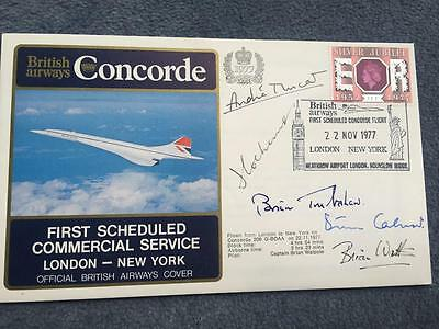 First Concorde Commercial Flight LHR-JFK 1977 Signed Trubshaw Andre Turcat