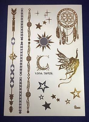 Waterproof Temporary MetallicTattoo Stickers Body Art Gold Silver for £1.79 UK