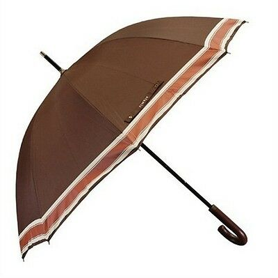 CLEARANCE PRICE! Aramis Mens Large Striped Golf Umbrella Chocolate Brown