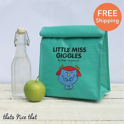 Little Miss Giggles Green Lunch Bag Cool School Sandwich Snack Box Salad Mr Men