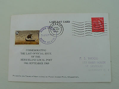 Last Day Card Herm Island Post Office Guernsey 30 September 1969