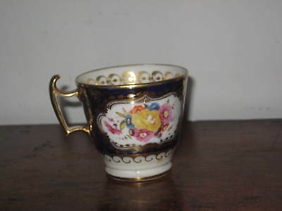 Regency English Coffee Cup Fine Painted Flowers Super Gilding