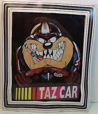 Vintage Looney Tunes  TazCar Collectible Glass Picture Carnival Prize