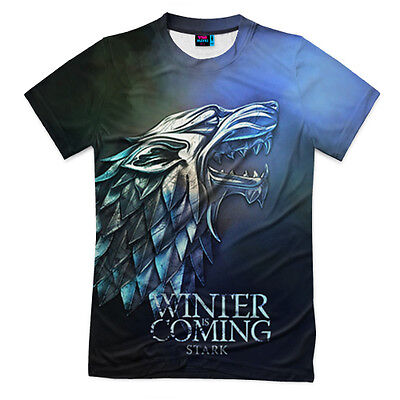 Game of Thrones Winter is coming Stark NEW Men's T-shirt 3D Print Russian