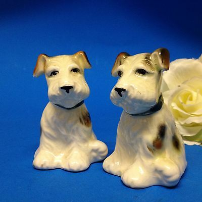 Vintage & With Original Corks - Ceramic Scotty Terrier Dog Salt & Pepper Shakers