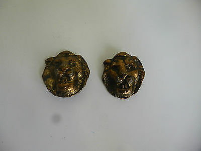 Two (2)  Vintage Brass Raised Lion Head Buttons